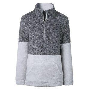 Plush 1/2 Zip Fuzzy Pullover